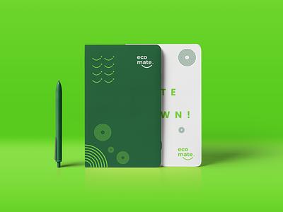 Notebook Design - Eco Mate notebook design a4 size pen green ecomate notebook logo identity branding flat design minimal branding logo design brand design