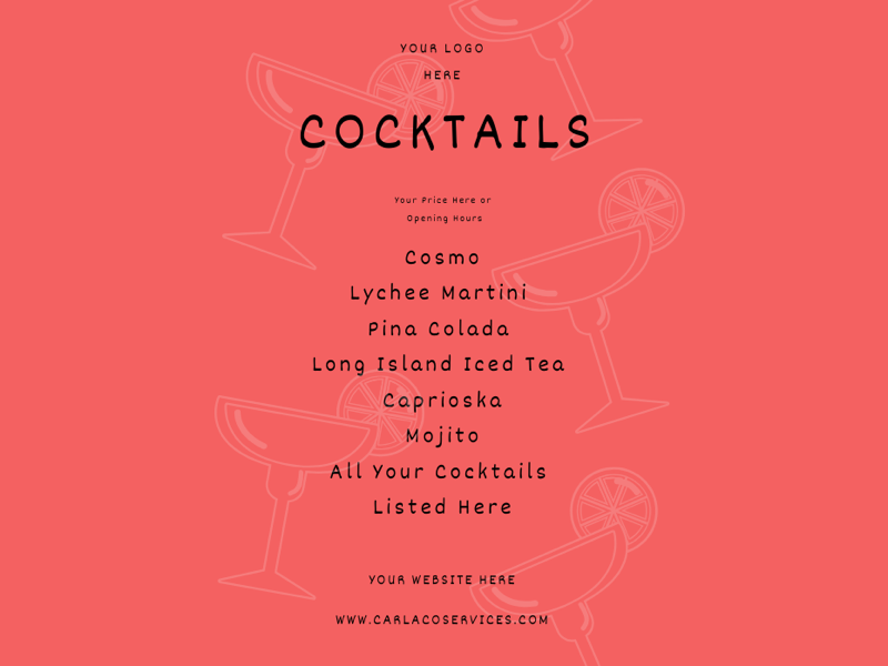Cocktail Menu Design branding social media cost effective advertising customer service menu design graphic design menus