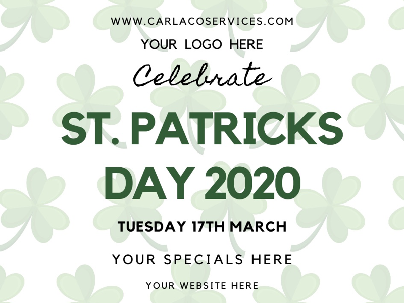 St. Patrick's Day Advertising Template events promotions specials menu graphics design menu design st.pats menu st. patricks day