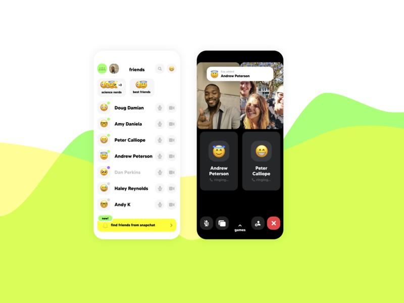 Wave - Video Chat App fun light flat ui ux uiux mobile ui minimal design concepts app app design videochat