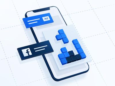 Facebook Playable Ads mobile game tetris adobe photoshop adobe facebook 3d 2d white ui design clean minimal landing page branding illustration