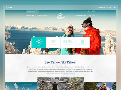 Diamond Peak - Website Launch website mobile reno nevada kps3 diamond peak ski snowboard bright teal responsive