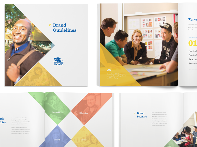 New Branding Case Study brand guidelines book bright logo university school community college brand