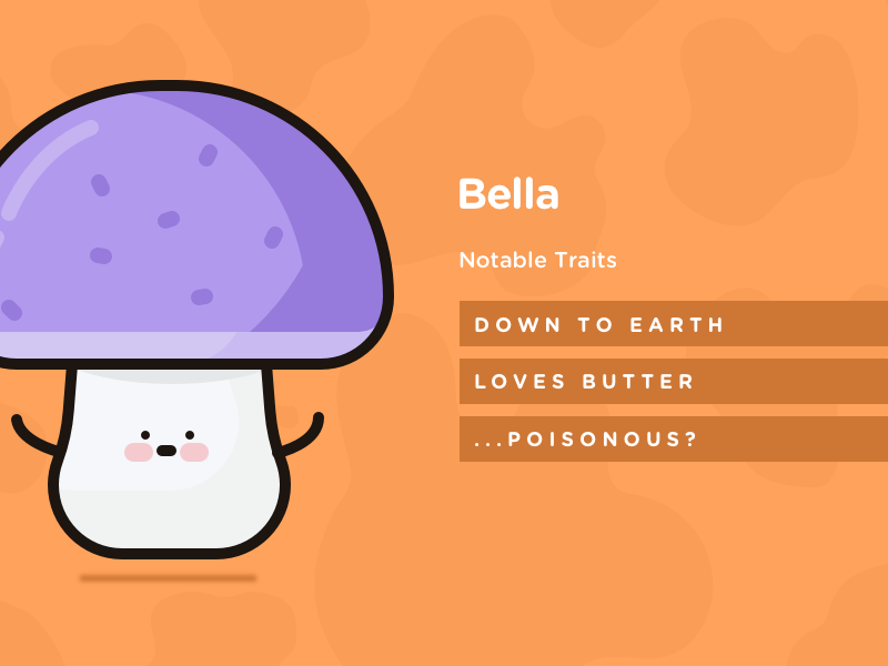 Character Card - Bella illustration orange dairy doodles mushroom