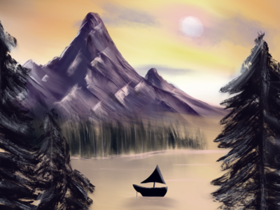Boaty McBoat Face with Majestic Mountains