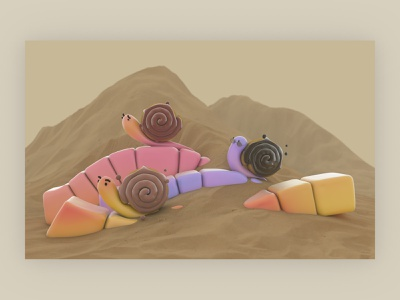 Snack - Snail's Trip mobile wallpaper visual art snack snail education 3d illustration visual cartoon illustration cartoon character cartoon kids illustration kid cinema4d 3d art 3d
