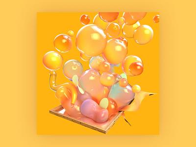 Abstract Object - Bubbling commercial art frame bubble yellow orange storytelling 3d artwork 3d modeling texture cgi birdies branding object mockup abstract design visual art 3d 3d art cinema4d