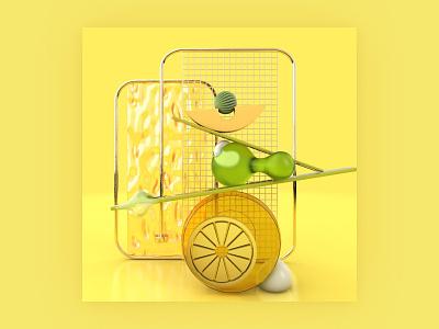 Abstract Object - Lemonade summer lemon lemonade balance commercial art storytelling 3d artwork 3d modeling texture cgi birdies conceptual art branding object mockup abstract design visual art 3d 3d art cinema4d