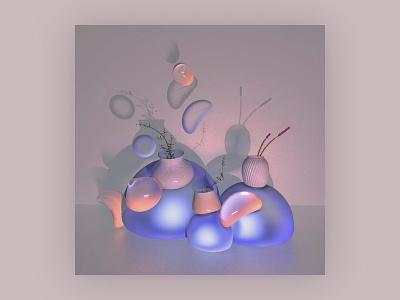 Abstract Object - Calmness bubbly flower vase meditation conceptual art calming commercial art storytelling 3d artwork 3d modeling texture cgi birdies branding object mockup abstract design visual art 3d 3d art cinema4d