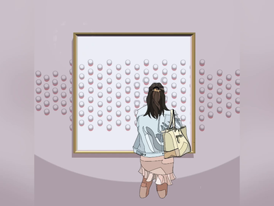 Waiting - [Waiting for her appreciation] digital painting ui graphic design pastel color girl character subtle pattern gif waiting exhibition 2d character 2d animation 2d art procreate art procreate ipad pro drawing vector illustration motion graphic animation