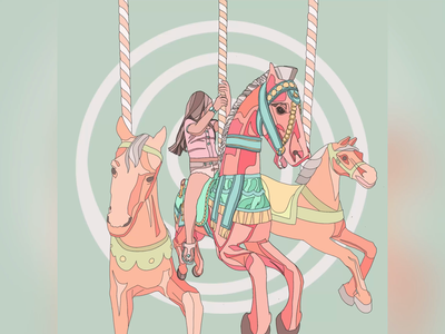 Waiting - [Waiting for a never-ending childhood] carousel childhood digital painting ui graphic design pastel color girl character gif waiting 2d character 2d animation procreate art procreate ipad pro drawing vector illustration motion graphic animation