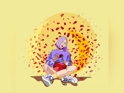 Waiting - [Waiting for an answer] rose digital painting ui graphic design pastel color girl character gif moving image waiting 2d character 2d animation 2d art procreate art procreate ipad pro drawing vector illustration motion graphic animation