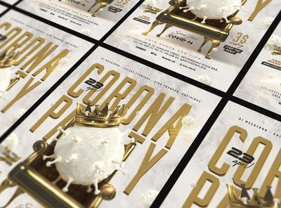 Corona Party Flyer virus tsar throne royal party pandemic king green golden gold flyer fight event covid19 covid coronavirus corona antivirus anti