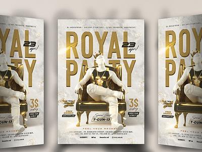 Royal Party Flyer throne crown king chain marble 3d rapper rap corona gold man flyer party royal
