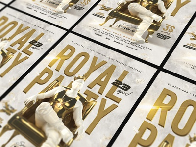 Royal Party Flyer throne crown king chain marble 3d rapper rap corona gold man flyer party royal