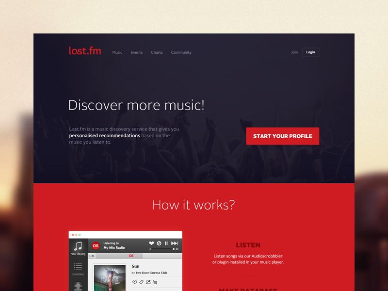Last.fm redesign landing page homepage last fm redesign for fun web design website