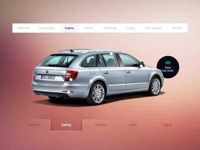 SKODA redesign - exterior page redesign skoda car fixed navigation product page webdesign