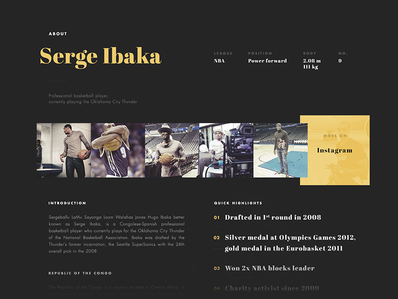 Serge Ibaka landing page landing page website design charity unicef about instagram feed wip serge ibaka
