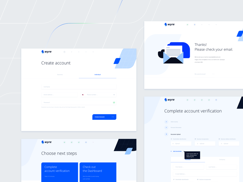 Wyre - Global Bank Transfers Faster than Email illustration ui payments form sign up onboarding colorful flat design web