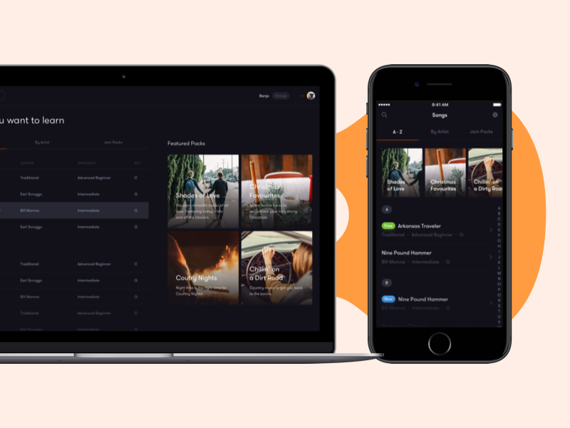 Tunefox app – Song List learning guitar iphone webdesign website desktop ios app
