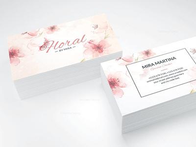 VISIT CARD ---Floral roses fleurs floral logo photoshop illustration graphic design carte de visite visit card