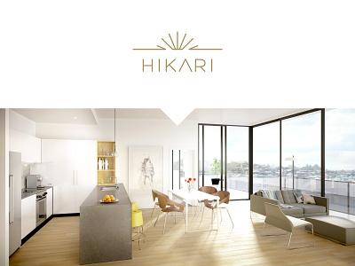 Hikari Apartments icon branding design logo vector typography construction premium artist impression branding design minimal
