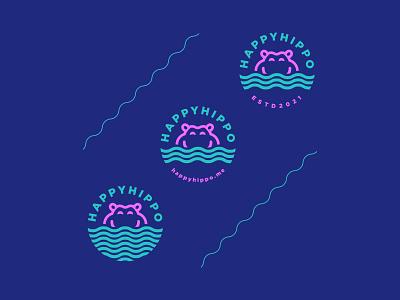 Happy Hippo Logo concept icons badges will killen fun project freelance webdesign happy hippo ui design branding design logo illustration custom design custom branding graphic design minimal
