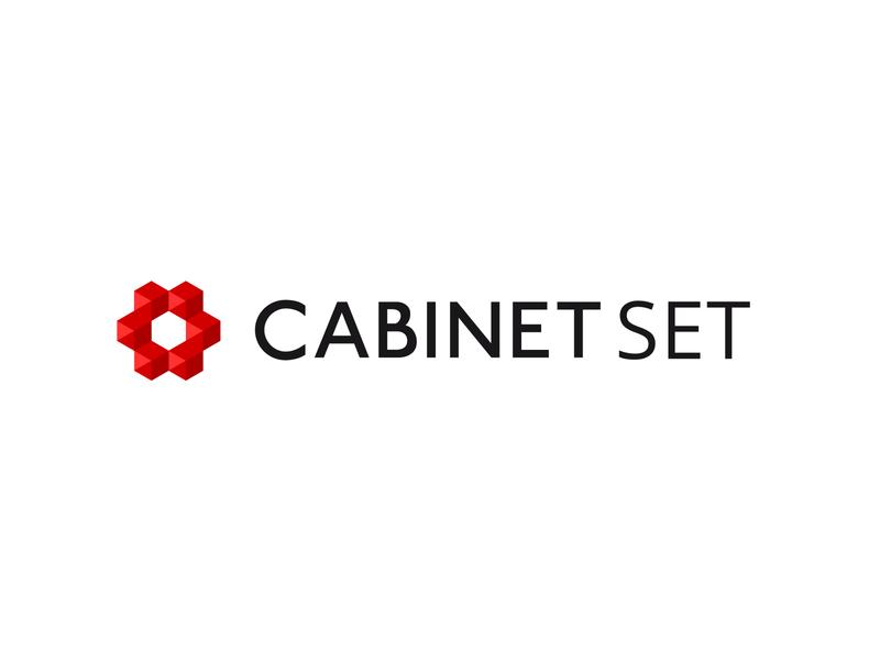 Cabinet Set logo. typography branding vector design icon logotype logo