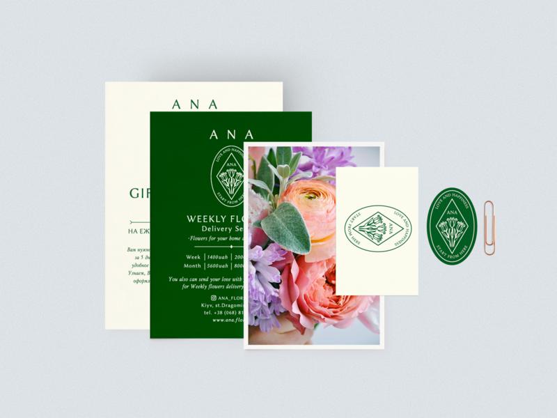 Gift certificat for floristic shop ANA Florist. print design mockup certificate branding design graphic illustration