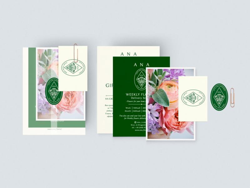 Gift certificat for floristic shop ANA Florist. minimal fashion boutique flowers florist certificate print designer mockup print design