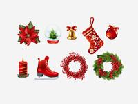 Old Christmas icon set.