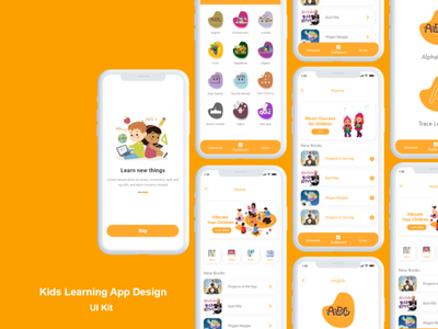 kids learning app design screens ios template design uuiux app design app learning kids