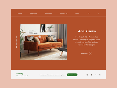 Furniture furniture design furniture website web minimal landing page ui design