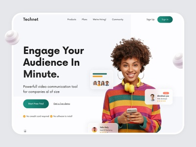 Hero Header - Technet websitedesign agency ui landingpage minimal webdesign design modern design landing page design header