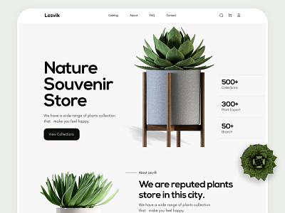 Plant Store Landing Page trendy trendywebdesign websitedesign minimal ui landingpage design webdesign modern design landing page design plantstorelandingpage plant plantstore