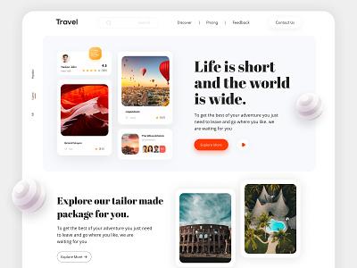Travel Agency - Landing Page. web travelcompanywebsite trendy trendywebdesign ui landingpage design webdesign modern design travel travelservice travellandingpage landing page design