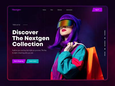 Nextgen- Fashion Store Concept. design ui branding trendywebdesign blackwebsitedesign darkweb clothing e-commerecestore ecommerece fashionstore fashion landingpage webdesign modern design landing page design