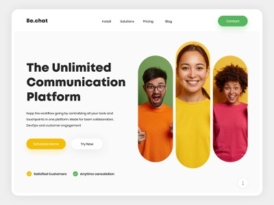 Be.chat- Chat Web Design Concept communicate people uiux uiuxdesign websitedesign trendylandingpage trendywebdesign minimal ui landingpage design webdesign modern design landing page design communication chatweb