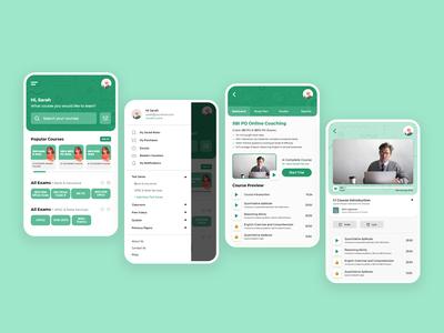 Exam Preparation App | Main Screens app education app mobile preparation examination exam education screens casestudy design ux
