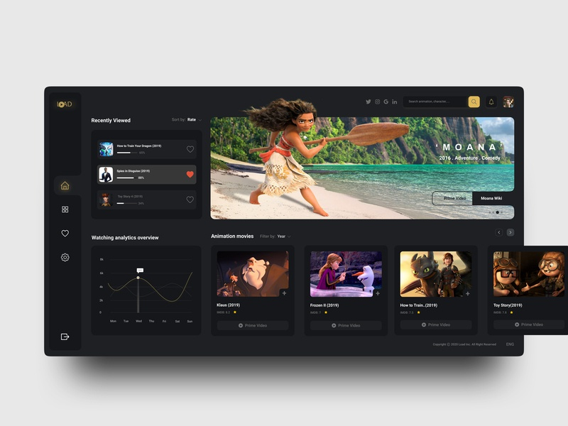 Animation Movies Dashboard web black clean ui minimal clear gold principle menubar clean dark website design uiux ux ui dashboad movie animation