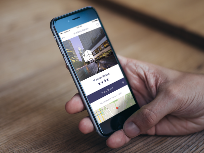 Hotel Listing Concept purple atlanta hotel iphone ios mobile ui
