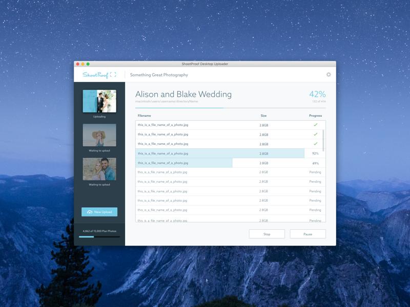 Mac OS X Photo Uploader - WIP os x user interface ui photo upload application app desktop mac uploader