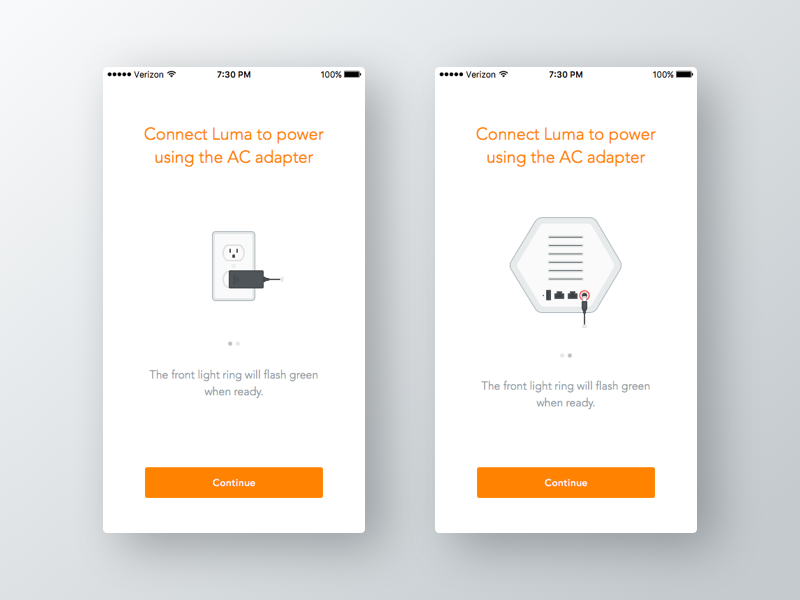 Luma Setup Power setup flow outlet power ac router wifi illustration iphone ios ui setup luma