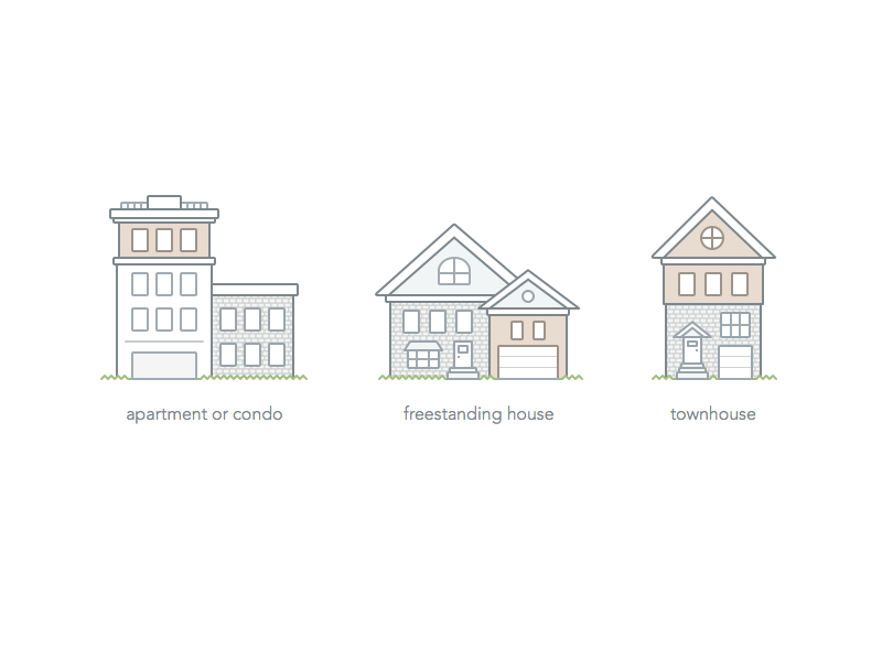 Home Type Illustrations setup ui illustration townhouse house condo apartment types home