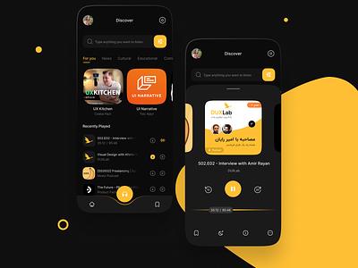 Podcast app app design dark ui uiux ui app