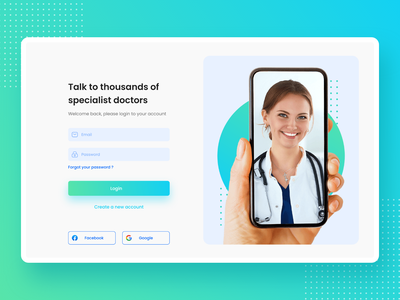 Clean Login Page UI ui uidesign ux uxdesign login registration doctor medical webdesign appdesign responsive clean signin presentation product design xd miro button textfield password