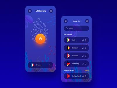VPNarium illustration clean dark ui ux ui ios mobile design fish aquarium internet security proxy internet vpn world vpn app mobile app vpn