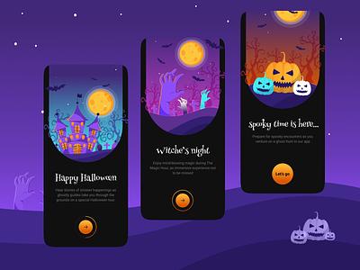 Halloween tour app onboarding minimal web app mobile tour castle bat scary hands pumpkin happy halloween progress bar illustration halloween dark onboarding uiux ux ui