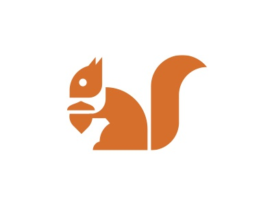 Squirrel logo morecolor nut tail brown red animals animal squirrel