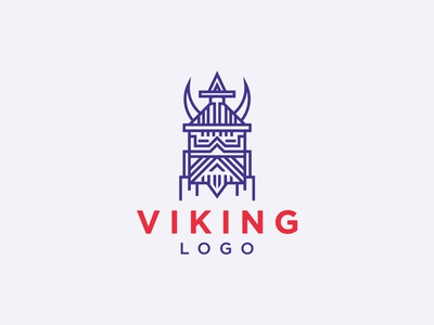 Minimalist Viking Logo corporate creative business modern logo app logo brand design branding visual identity monoline minimalist logo design viking logo viking